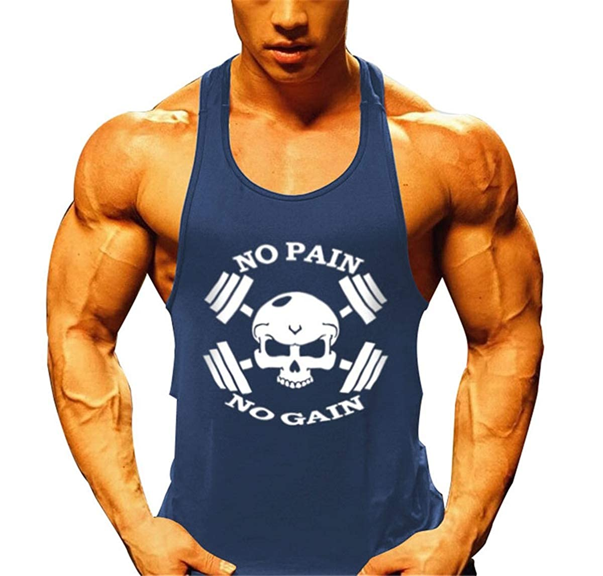 KODOO No Pain No Gain Musculation Homme Gym D/ébardeur sans Manche Maillot de Corps Tank Top Stretch Workout Fitness Stringer
