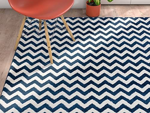 Wandering Chevron Dark Blue Zig Zag Modern Casual Geometric Area Rug 8×10 8×11 7 10 x 10 6 Stain Fade Resistant No Shed Contemporary Abstract Dining Room Fun Shapes Lines Living Dining Room