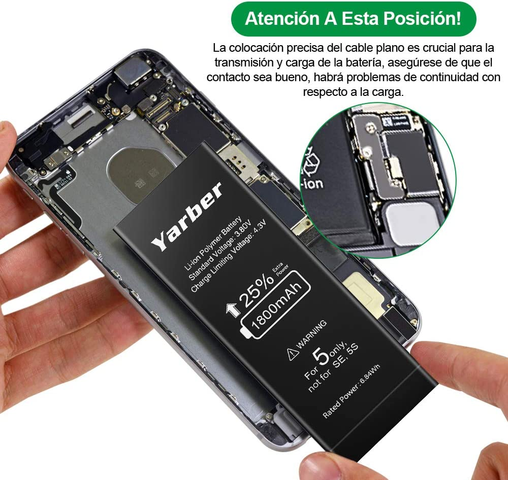 Bater/ía de reemplazo para iPhone 5 Bater/ía con 25/% m/ás de Capacidad Que la bater/ía Original y Incluye Kit de Herramientas Profesional de reparaci/ón no es Compatible con i5S//5C
