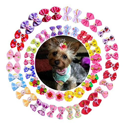 61IY5O0tCNL - 50pcs/pack Cute New Dog Hair Bows Pairs Rhinestone Pearls Flowers Topknot Mix Styles Dog Bows Pet Grooming Products Mix Colors Pet Hair Bows Topknot Rubber Bands