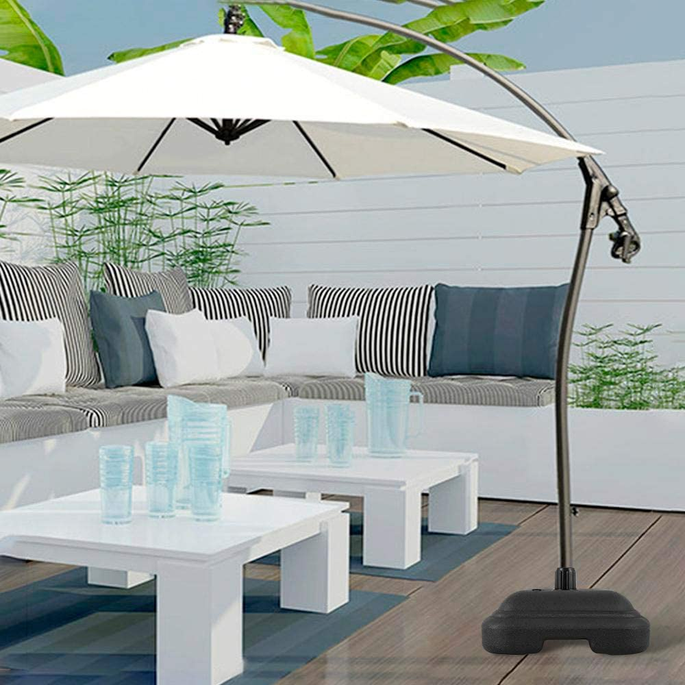 Outdoor Parasol Base Portable Detachable Umbrella Base Stand Plastic Base,Fits Offset Patio Umbrella Fill with Water&Sand For Patio Outdoor Beach