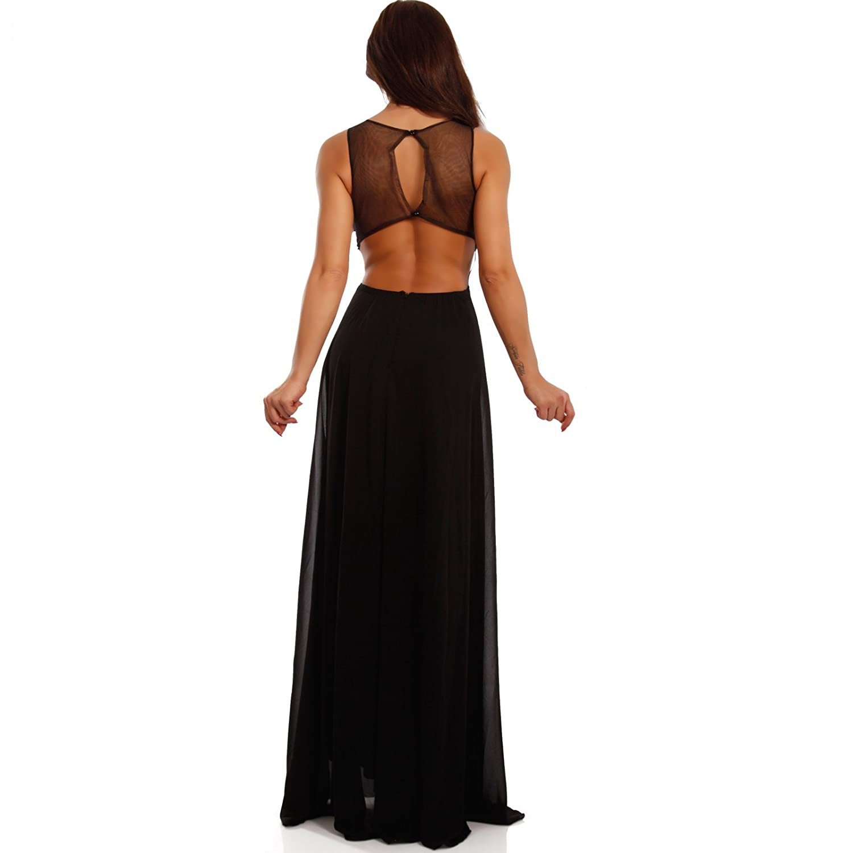 Chiffonkleid Damen Mit Maxikleid Young Fashion Strasssteinen Zierausschnitt Abendkleid Und roxWdCBe