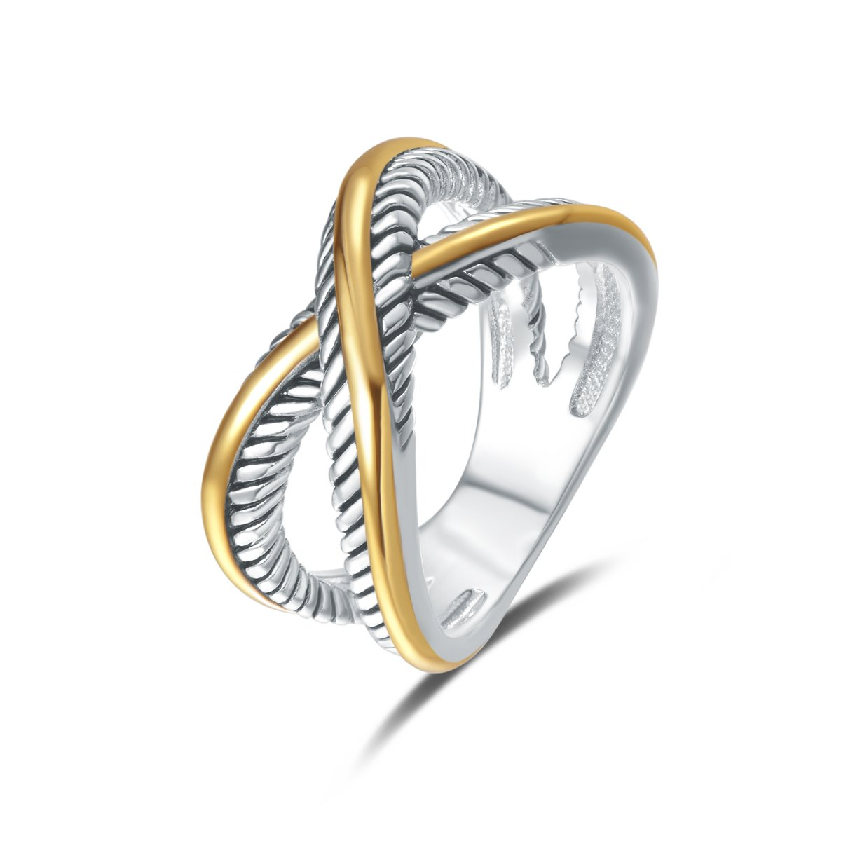 UNY Ring Vintage Designer Fashion Brand Women Valentine Gift Two Tone Plating Twisted Cable Wire Rings (7) by UNY
