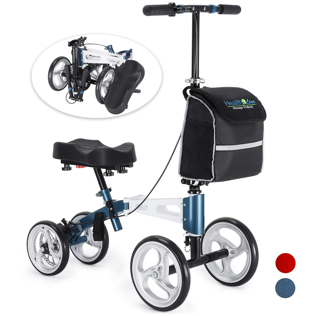 Health Line Aluminum Knee Scooter Steerable Knee Walker with Strong Disc Brake and Large Bag, Crutches Alternative for Foot Injuries Ankles Surgery, Compact & Portable, Royal Blue & White by HEALTH LINE MASSAGE PRODUCTS