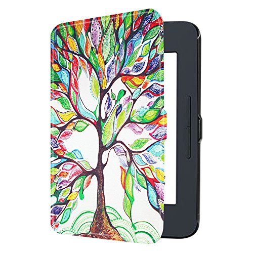 Fintie Nook GlowLight 3 SlimShell Case, Ultra Thin and Lightweight PU Leather Protective Cover for Barnes and Noble Nook GlowLight 3 eReader 2017 Release Model BNRV520, Love Tree