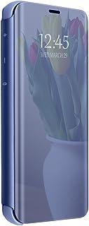 Case Compatible with Samsung Galaxy J7DUO Hülle Clear View Überzug Spiegel Schutzhülle Case Flip Handyhülle mit Standfunktion Cover (2018)
