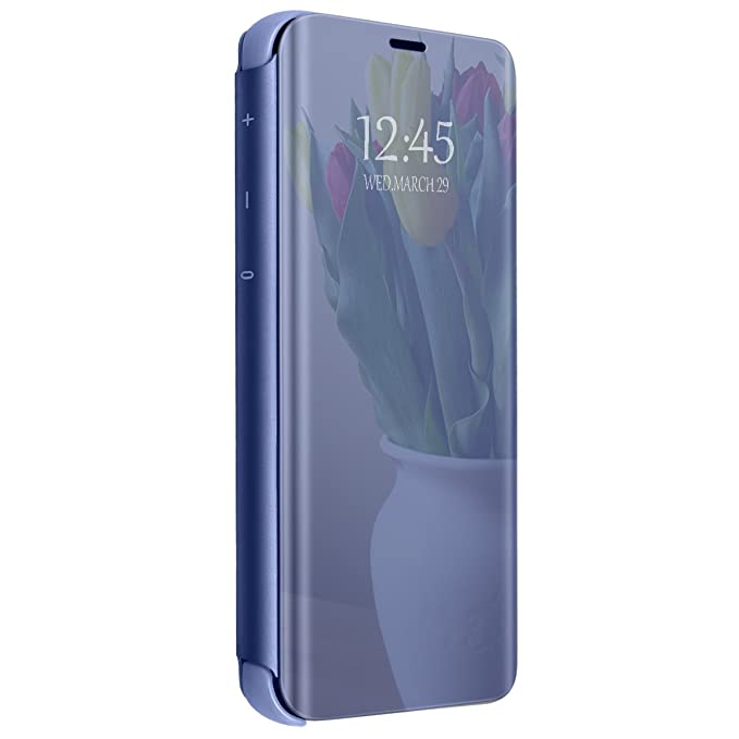 Carcasa Compatible con Samsung Galaxy S9 Plus Case Mirror Funda Inteligente Fecha/Hora Ver Funda de Espejo Flip Caso Book PC Hard Teléfono móvil Shell ...