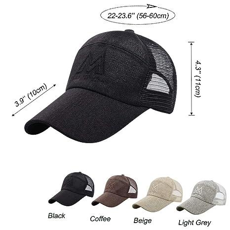 303e0cc5471c2 LONTG Mesh Baseball Cap for Women Men Outdoor Sports Cap Hat Peak Cap  Snapback Hat Wide Brim Visor Sun Hat Trucker Cap Unisex Embroidery  Adjustable ...