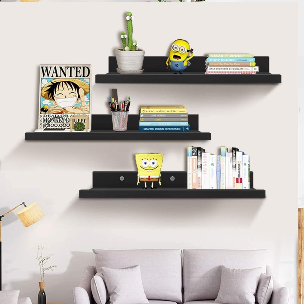 Aart Store Floating Wall Ledge Shelves Set Of 3 Photo Picture Ledge Shelf For Office Bedroom Living Room Kitchen Amazon In Home Kitchen