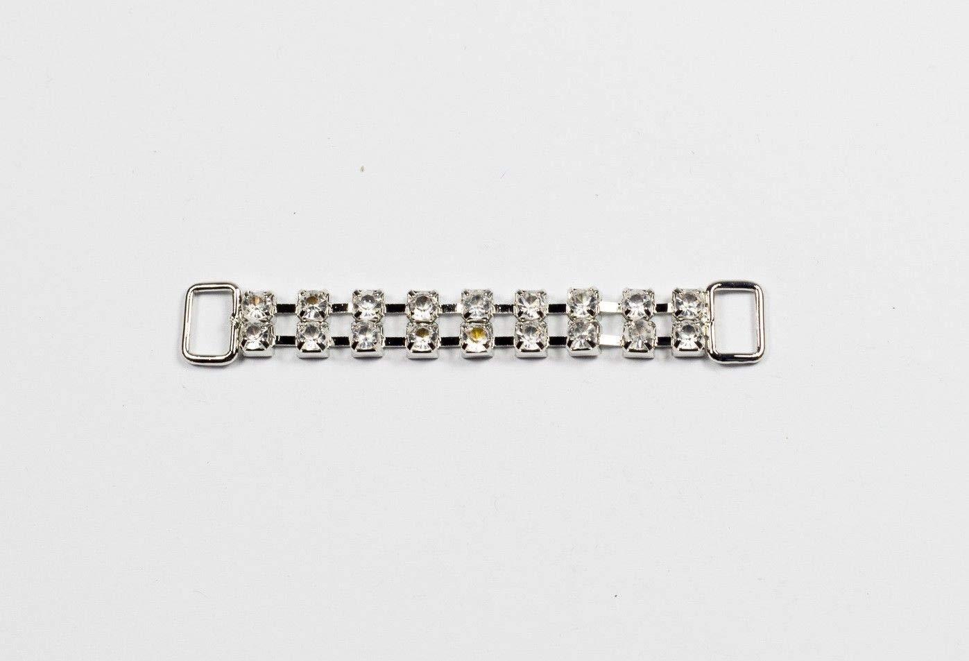 5 Pieces /× 2-Row Rhinestone Bikini Connectors Buckles Metal Chain 55mm Long