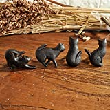 Set of 4 Cats Vintage Cast Iron Cabinet Furniture Knobs and Pulls Cupboard Door Handle,Kittens Creative and Lovely Home Decor, Hardware Iron Works,Black
