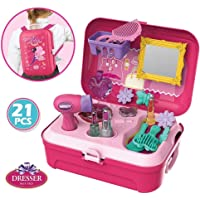 Parteet Pretend Play Make up Kit Little Girls Dress-up Fake Cosmetic Set with Storage Backpack Box-No Mess Kids Beauty Educational Toy