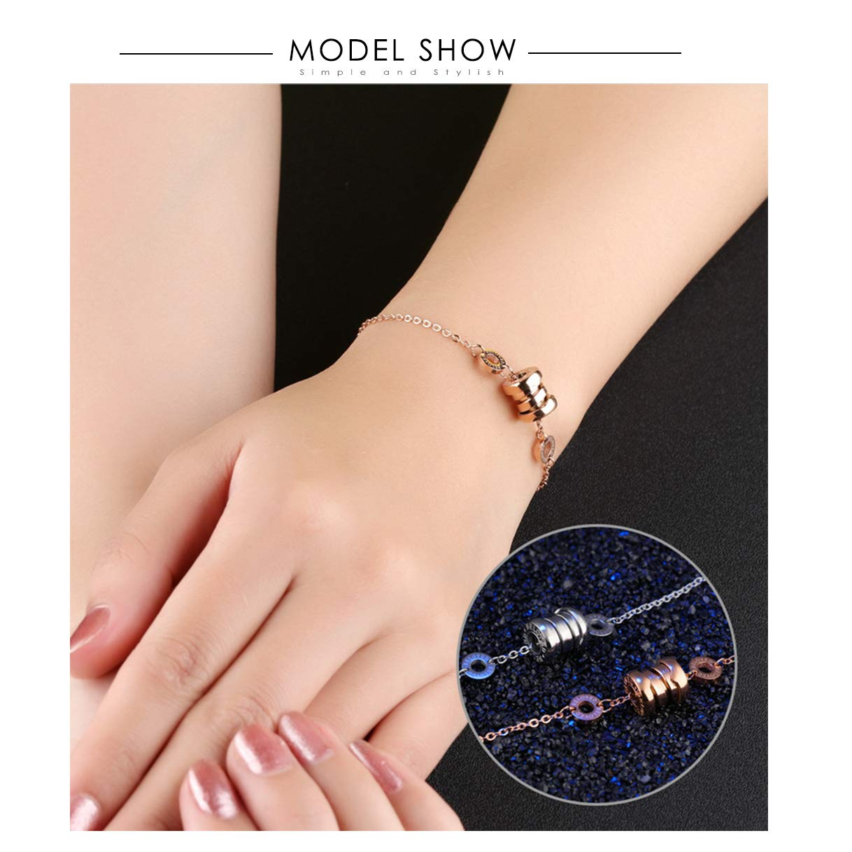 CHARMFAME Rose Gold Plated Stainless Steel Beloved Engraved Circle Link Bracelet Fashion Jewelry for Women /& Girls