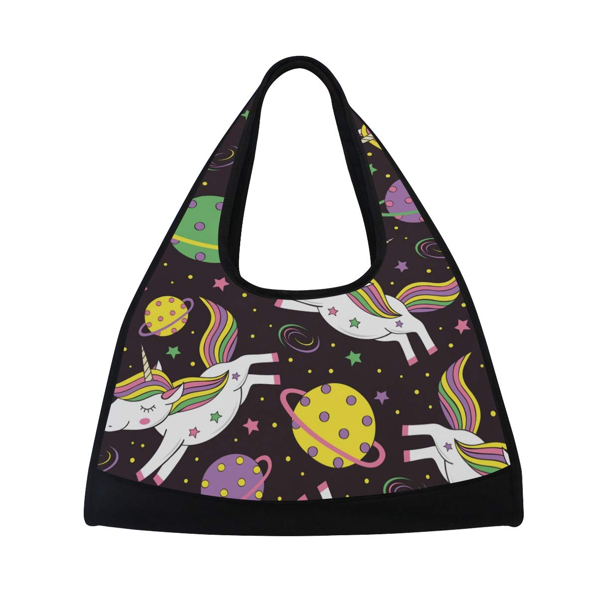 Gym Bag Sports Holdall Unicorn Space Starry Sky Canvas Shoulder Bag Overnight Travel Bag for Men and Women