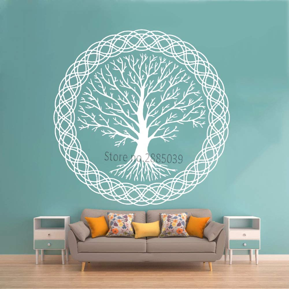 YuanMinglu Meditación Zen Tree Wall Decal Vinyl Art Decoración de la Vida Familiar Natural Wall Sticker Unique Large Project Tree Decal White S 43cm x 43cm: Amazon.es: Hogar