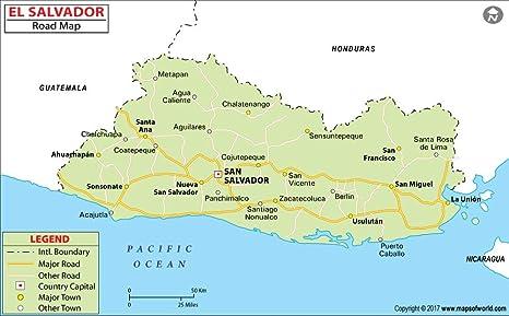 Amazon.com : El Salvador Highway Map - Laminated (36\
