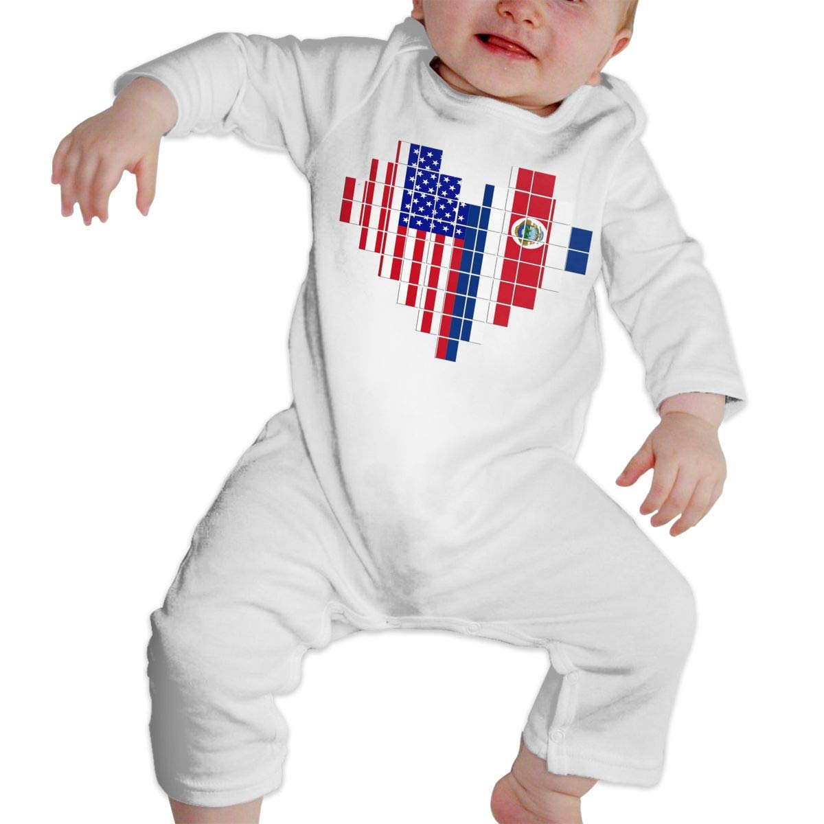 A1BY-5US Newborn Infant Baby Girls Boys Bodysuits American Flag Costa Rica Flag Puzzle Heart Cotton Long Sleeve Baby Clothes