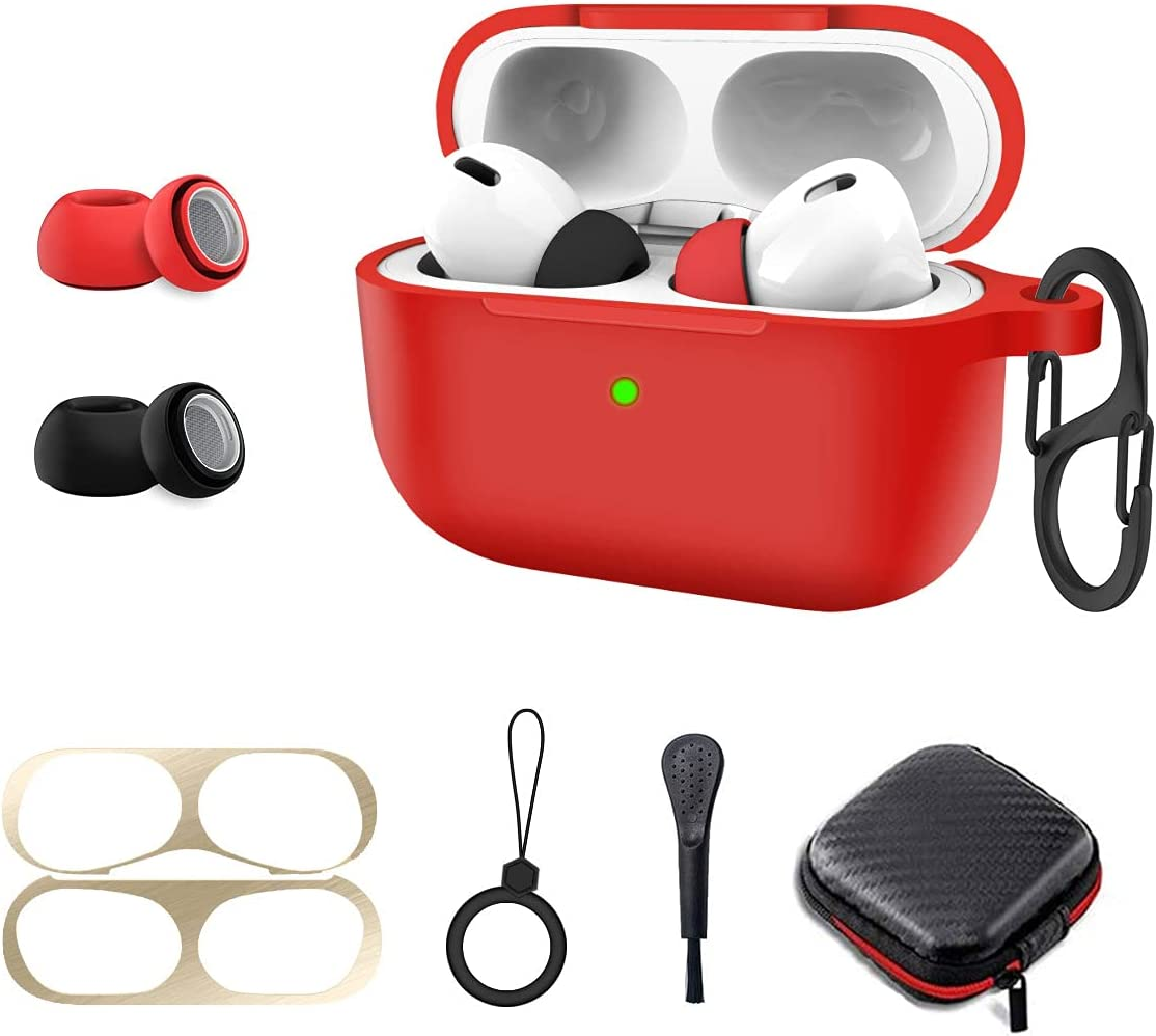 Protective Cover for Air Pods Pro Case, 8 in 1 Silicone Airpod Pro Accessory Kit Set, Alquar Apple Airpod Pro Charging Case Cover Skin with Ear Tips/Dust Guard/Keychain/Ring/Brush/Carrying Box (Red)