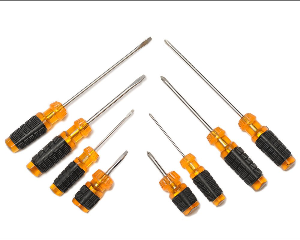 H. H. Bukke Screwdriver Set Magnetic with 4 Straight (Flathead) and 4 Phillips Screwdrivers (Destornilladores) Cushion Grip
