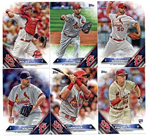 2016 Topps Baseball Series 1 St. Louis Cardinals Team Set of 9 Cards (SEALED): Jhonny Peralta(#46), Jordan Walden(#106), Kevin Siegrist(#107), Yadier Molina(#134), Stephen Piscotty(#146), Lance Lynn(#217), Matt Carpenter(#244), Matt Holliday(#254), Adam Wainwright(#319) SHIPPED IN PROTECTIVE STORAGE CASE