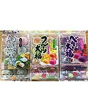 Japanese Fruit Flavor Mochi Strawberry & Blueberry, Mango & Peach & Pineapple, Bean Jam Rice Cake Mochi Sampler - 3x 8 Pc by Kyoshin