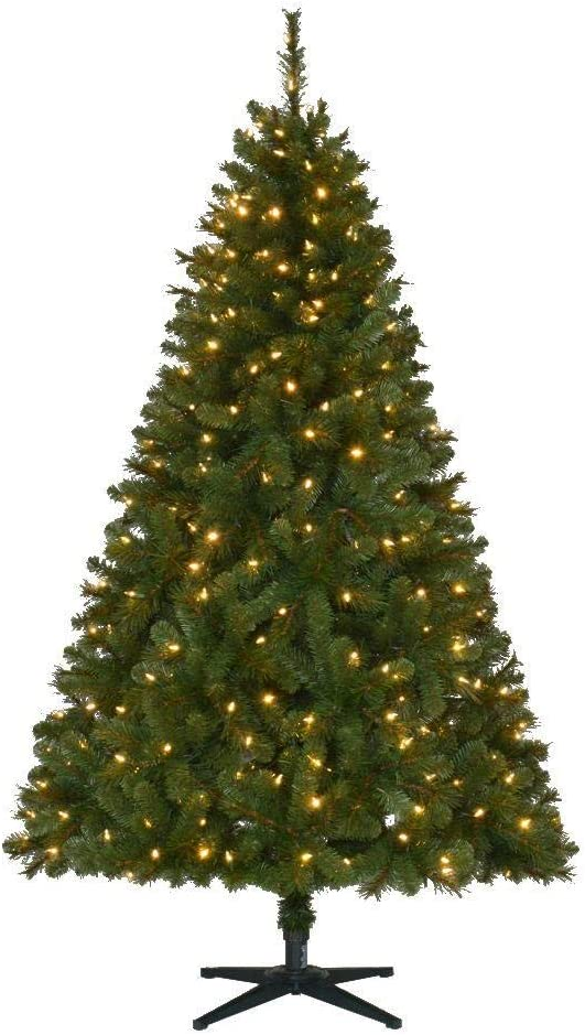Home Accents Holiday 6.5 ft Wesley Long Needle Pine LED Pre-Lit Artificial Christmas Tree with 300 SureBright Color Changing Lights