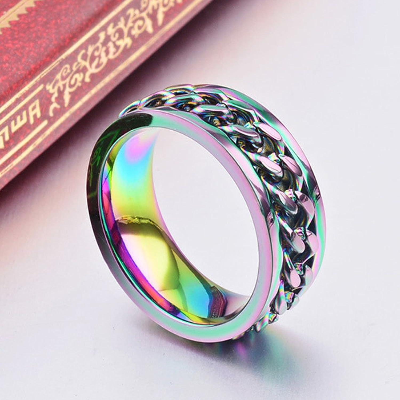 8mm rainbow chain design stainless steel spinner rings for mens