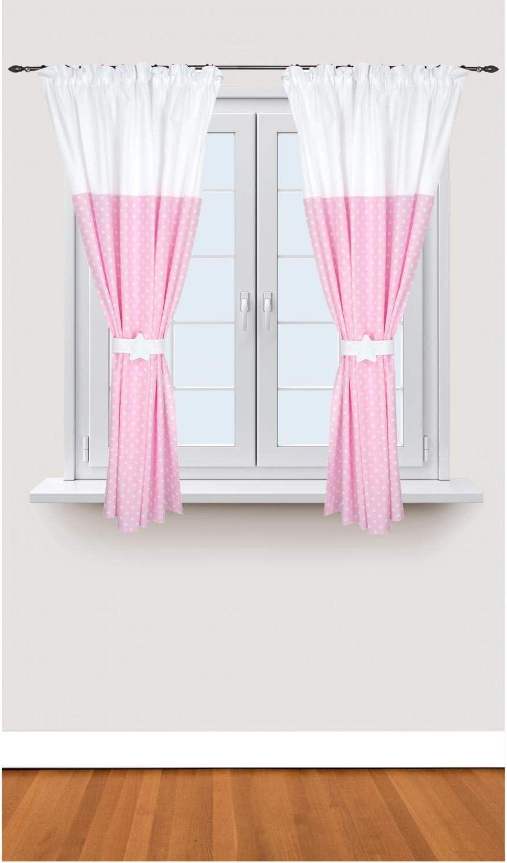 TupTam Tende per Camerette dei Bambini Bicolore 2 Pannelli con Passanti Bianco//Punti Rosa c 140 x 160 cm