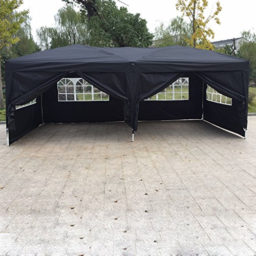 10'x 20' EZ Pop UP Wedding Party Tent Gazebo Canopy 6 Sidewalls w/Carry Bag (Evanston Sand)