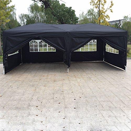 10'x 20' EZ Pop UP Wedding Party Tent Gazebo Canopy 6 Sidewalls w/Carry Bag (Sand Evanston)