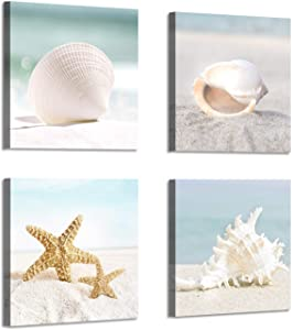 Starfish & Seashells Canvas Wall Art: Sandy Beach Seaside Graphic Artwork for Bathroom(12''x12''x4pcs)