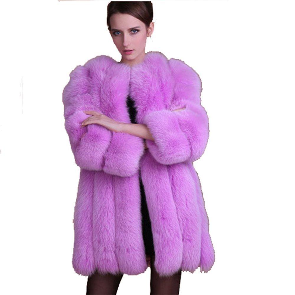 Rvxigzvi Women's Thick Fox Faux Fur Coat Plus Size Winter Warm Long Luxary Wedding Party Outerwear (Purple, M)