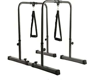 YESJOY Adjustable Dip Stand, Multi-Function Heavy Duty Dip Station Bars with Pull-Up Handle Grips for Home Gym Body Weights Strength Training. (Up to 500lbs Capacity)