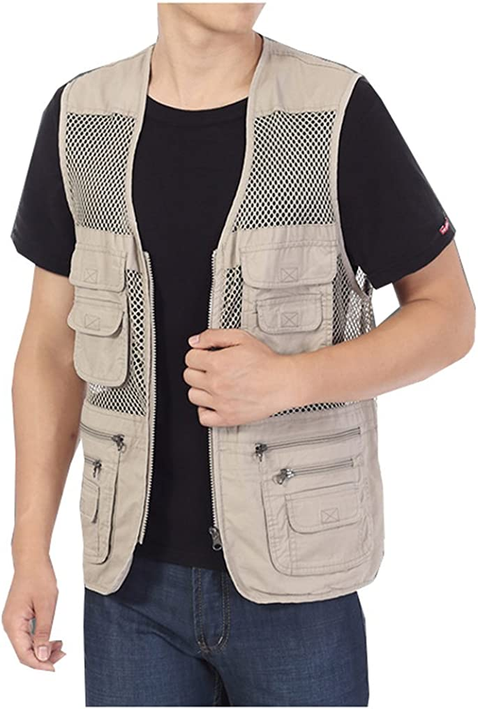 Kedera Men's Mesh Fishing Vest Photography Work Multi-Pockets Outdoors Journalist's Vest Jacket