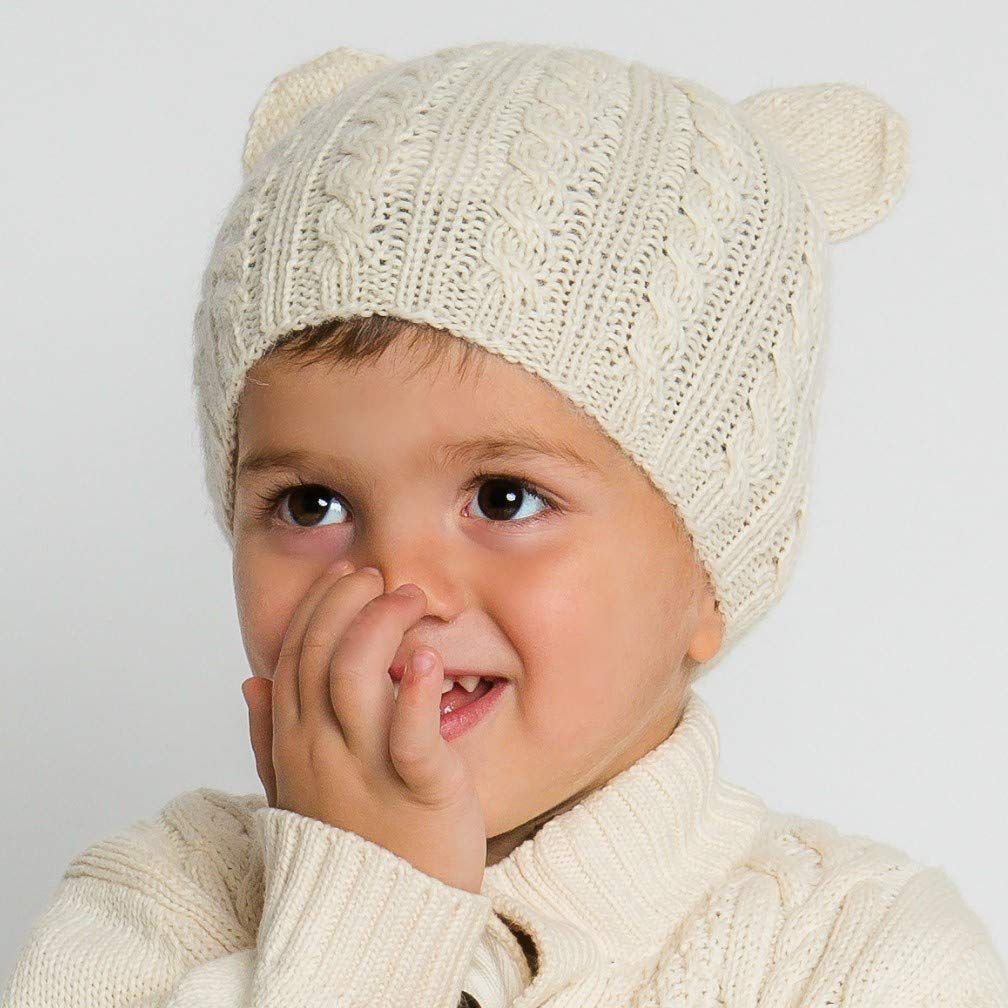 Hand-Knit 100% Organic Alpaca Wool | Pasco Bear Beanie Hat 2T-5T (Cream) by Surhilo |Soft, Quality, Hypoallergenic | The Perfect and Eco-Friendly Way to Keep Your Baby and Toddler Cozy and Comfortable