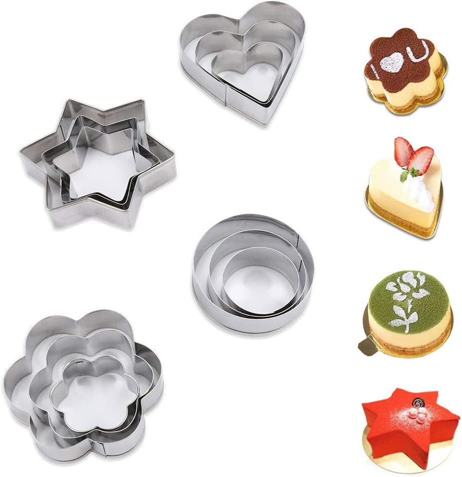 4Pcs Stainless Steel Round Circle Mould Shaped Cookie Cutter Biscuit Pastry Mold