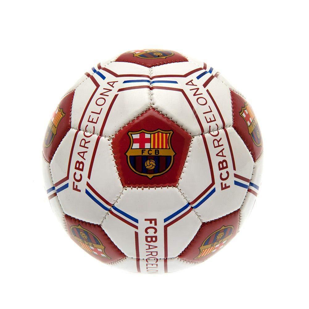 Barcelona FC Mini Football Size 1 Club Crest White Leather Sport ...
