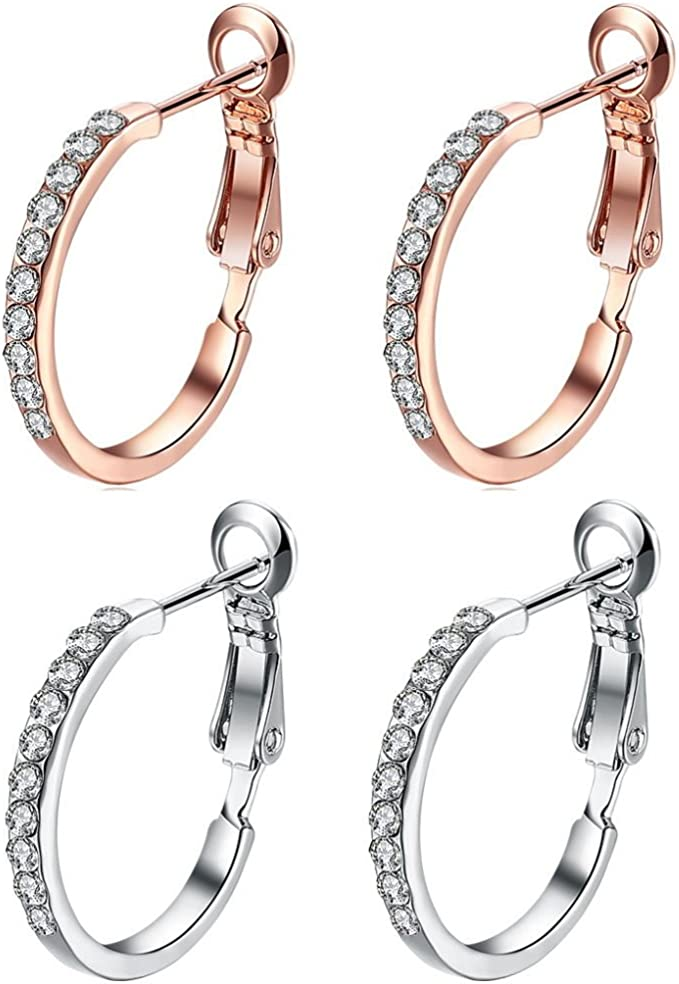Trendy Costume Small Gold Hoop Earrings Affordable Bling Rhinestones Alloy Cute Gifts for Her Birthday Bulk Party Favor MommaJessBoutique