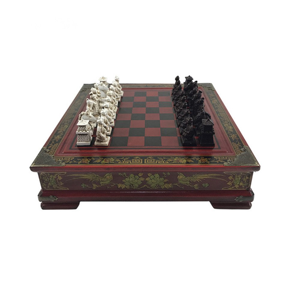 Chess Chinese Tterracotta Warriors Chess Set 26X26x6.5 cm, Vintage Collection Wood Carving Resin Chessman Christmas, Birthday Premium Gifts
