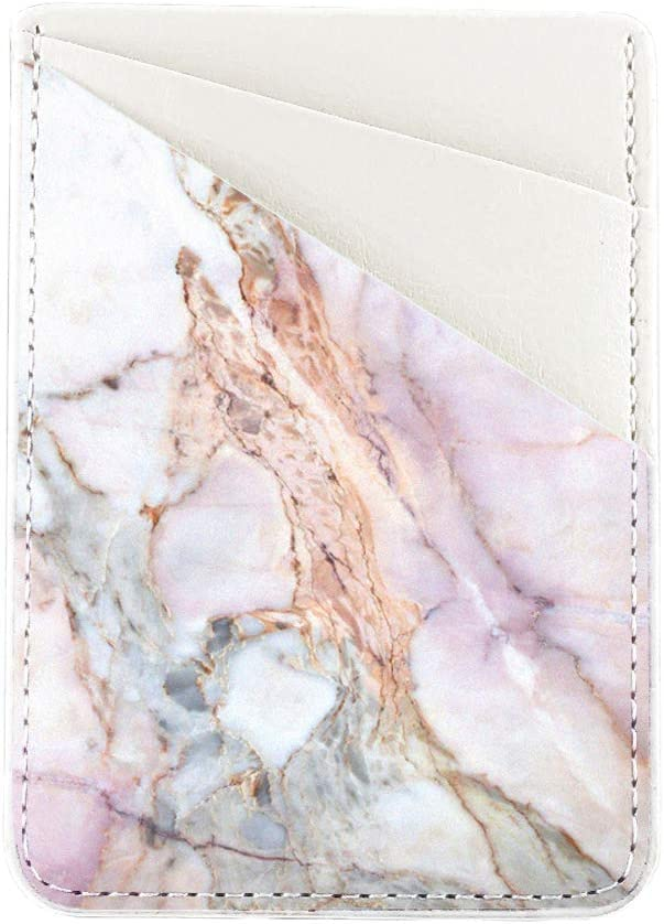 Natural Marble Phone Card Holder uCOLOR PU Leather Wallet Pocket Credit Card ID Case Pouch 3M Adhesive Sticker on iPhone Samsung Galaxy Android Smartphones
