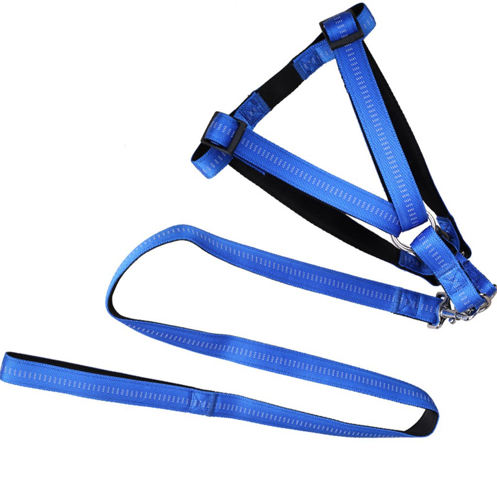 bluee CHONGWFS Pet Traction Rope Adjustable Chest Harness Middle Large Dog Pet Traction Rope Safe and Durable Three colors Optional (color   bluee)