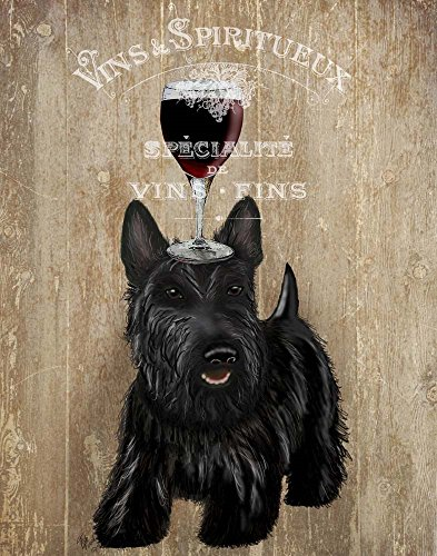 Dog Au Vin, Scottish Terrier by Fab Funky Art Print, 14 x 17 inches