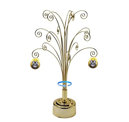 HOHIYA Ornament Display Stand Tree Metal Rotating Hook Hanger Ball Christmas Easter Egg 16.75inch Gold