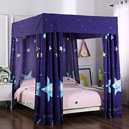 Mengersi Galaxy Star Four Corner Post Bed Curtain Canopy Bedroom Decoration For Girls Adults Windproof Lightproof Bed Canopies Child Gift California King Navy Star Amazon In Home Kitchen