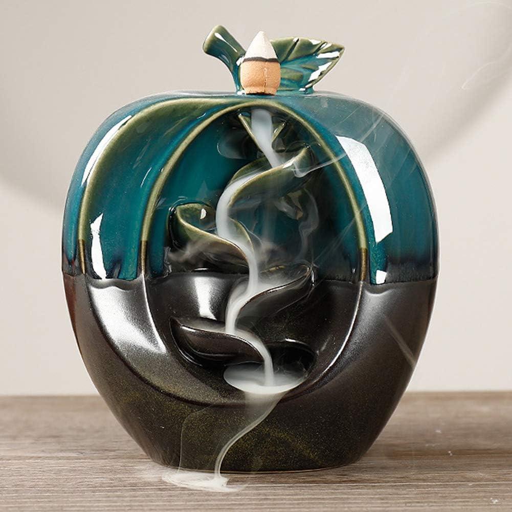 Luwsldirr Apples Fruit Ceramic Backflow Cone Incense Censer Burners Home Craft Ornament - Green