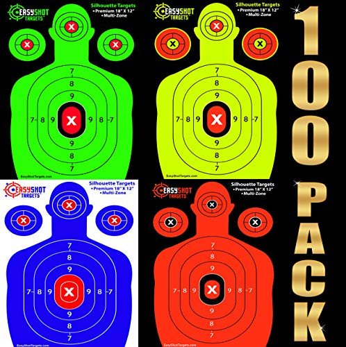 100-Pack Shooting Targets - 25 Sheets of Each Color: Fluorescent Orange, Neon Green, Electric Blue and Neon Yellow. Easy to See Your Shots Land, Heavy-Duty Silhouette Paper Sheets