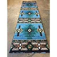Champion Rugs Southwestern Native American Area Rug Geometric Light Blue Green (32 Inch X 15 Feet 6 Inch Runner)