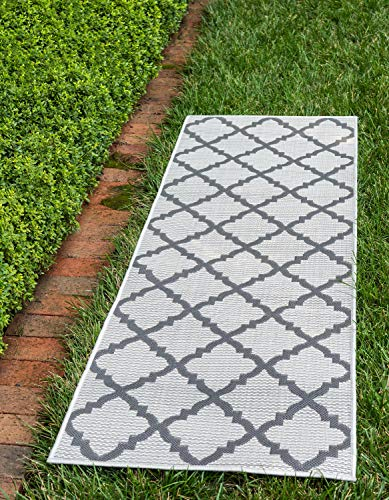 Unique Loom Outdoor Collection Geometric Moroccan Lattice Indoor and Outdoor Transitional Gray Runner Rug (2' x 6')