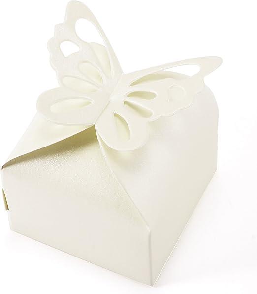 CLE DE TOUS 50 Cajitas / Caja para Bombones Caramelos Regalo Mariposa Color Marfil Decoracion para Boda: Amazon.es: Hogar