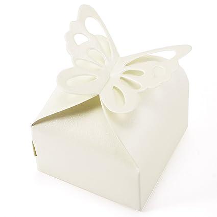 CLE DE TOUS 50 Cajitas / Caja para Bombones Caramelos Regalo Mariposa Color Marfil Decoracion para
